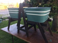 A personal favorite from my Etsy shop https://www.etsy.com/listing/294330057/antique-double-wash-tubs-and-stand-great