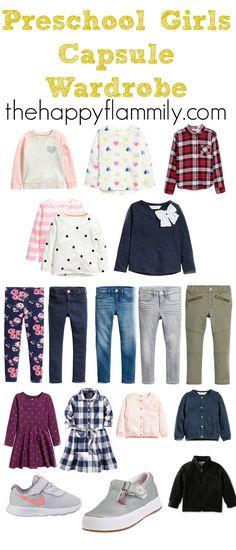 Preschool Girl's Capsule Wardrobe 2017 - My favorite children's fashion list Toddler Girl Style, Toddler Fashion, Toddler Outfits, Kids Outfits, Kids Fashion, Fashion 2016, Capsule Outfits, Fall Capsule Wardrobe, Fashion Capsule