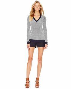 MICHAEL Michael Kors  Knit Grid-Print Sweater & Two-Tone Walking Shorts.