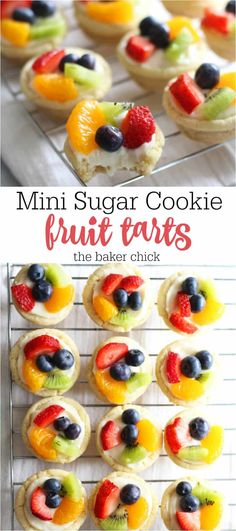 Mini Sugar Cookie Fruit Tarts You can find Mini desserts and more on our website.Mini Sugar C. Mini Desserts, Dessert Tarts Mini, Dessert Oreo, Coconut Dessert, Brownie Desserts, Delicious Desserts, Christmas Desserts, Baking Desserts, Christmas Fun
