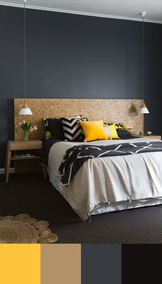 bedroom-color-scheme-yellow-and-grey