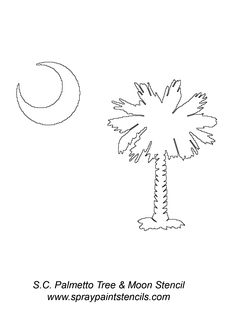 This shows my state tree and is a great symbol for all South Carolinians. South Carolina Art, South Carolina Tattoo, Carolina Pride, Carolina Cup, Palmetto Tree, Palmetto Moon, Moon Silhouette, Tree Stencil, Flag Painting