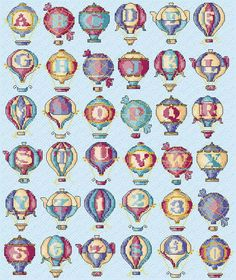 Maria Diaz Designs: HOT AIR BALLOONS ALPHABET (Cross-stitch chart)