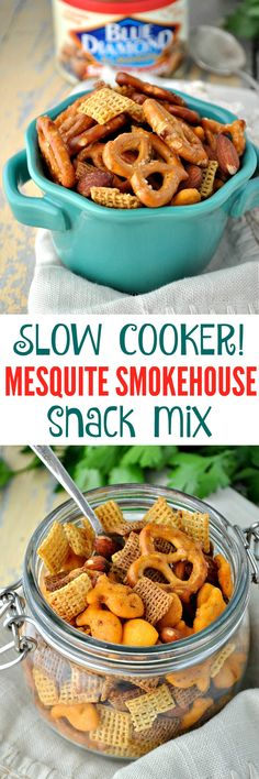 Perfect for easy game day snacks or make-ahead holiday party appetizers, this Slow Cooker Mesquite Smoked Snack Mix is packed with bold flavor and it disappears fast! #GameChangingFlavors #ad