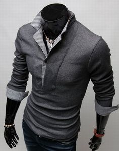 Plaid Long Sleeve Polo
