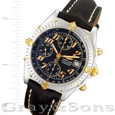 Handsome Gents Breitling Chronomat in 18k & stainless steel on a leather strap with stainless steel tang buckle. Auto w/ subseconds, sweep seconds, date and chronograph.
