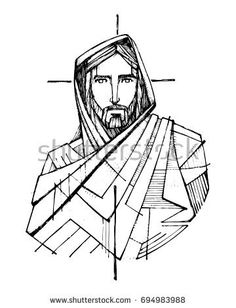 Hand drawn ink vector illustration or drawing of Jesus Christ and a Cross