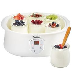 VonShef Automatic Digital Yogurt Maker with LCD Display Screen and 7 x Yogurt Jars Make Natural Healthy Yogurt at Home ** You can get more details by clicking on the image. (This is an affiliate link) Cool Kitchen Gadgets, Cool Kitchens, Kitchen Tools, Kitchen Dining, Best Yogurt Maker, Make Your Own Yogurt, Jars For Sale, Healthy Yogurt, Probiotic Foods