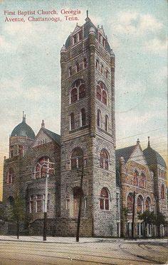Postcard First Baptist Church Georgia Avenue Chattanooga TN