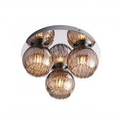 Aerith three light ceiling flush is finished in a shiny chrome effect plate, with smokey mirror effect glass which houses wire mesh to create a stunning light effect. Flush Lighting, Flush Ceiling Lights, House Wiring, Mirror Effect, Light Effect, Room Lights, Light Fittings, Chrome Plating, Light Bulb