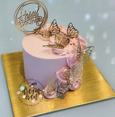 Butterfly Birthday Cakes, Candy Birthday Cakes, Elegant Birthday Cakes, Beautiful Birthday Cakes, Butterfly Cakes, Cakes With Butterflies, Beautiful Cake Designs, Beautiful Cakes, Pretty Cakes