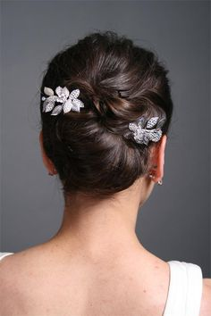 Dazzling Silver Leaf and Rhinestone Hair Pins Beautiful silver leave bridal hair pin with alternating crystal covered leaves. This hair pin is compliments embroidery on many bridal gowns and will add a touch of sparkle and glamour to your hair.