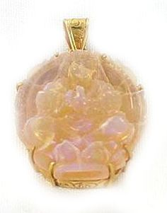 18K GOLD CARVED OPAL BUDDHA PENDANT from New World Gems