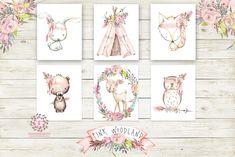 Boho Pink Fox Bunny Rabbit Teepee Wall Art Print Woodland Deer Bohemian Floral Nursery Baby Girl Room Bear Owl Arrow Printable Set Of 6 Decor
