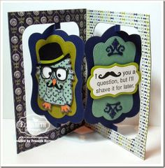 I Moustache You A Question created by Frances Byrne using Dies: Poppy the Owl; Props; Katie Label Accordion Card; Katie Label Pivot Card – designed by Karen Burniston for Elizabeth Craft Designs.