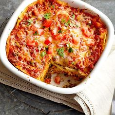 A chill time of 8 to 24 hours lets all the delicious flavors of this healthy Mexican casserole meld for a delicious make-ahead dinner. Of course it's topped with ample cheese, because all good things are./