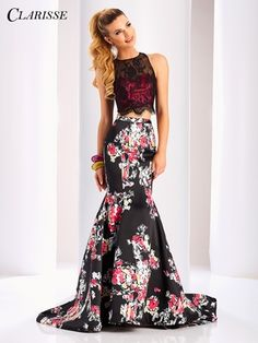 Clarisse Prom 3209 Black/Print Two-Piece Mermaid Prom Dress Backless Mermaid Prom Dresses, Mermaid Prom Dresses Lace, Long Prom Gowns, Prom Dresses With Sleeves, Short Dresses, Mermaid Gown, Lace Dress, Dress Long, Two Piece Formal Dresses