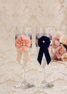 Wedding Champagne Flutes navy and blush Wedding Glasses