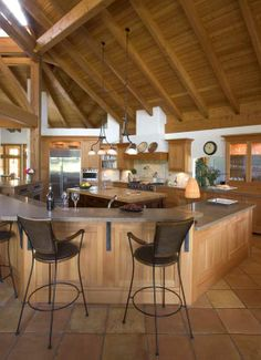 british columbia timber home - kitchen