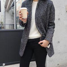 Grey coat & black jeans