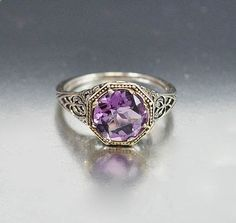Vintage Sterling Silver Filigree Amethyst Ring #Vintage #Jewelry