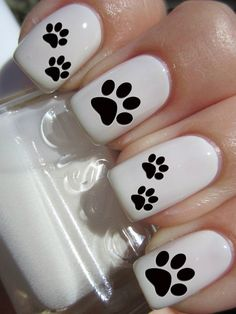 Puppy Paw Print Nail Decals by PineGalaxy on Etsy, $4.50