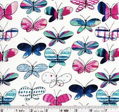 A rabble of butterflies flutter across this beautiful print.This medium weight Japanese import is 100% cotton and is 43/44