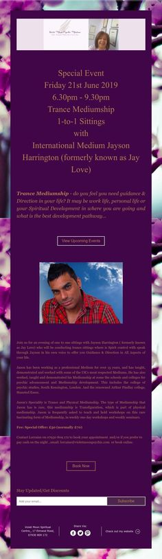 Special Event Wednesday July 2019 - Trance Mediumship Sittings with International Medium Jayson Harrington (formerly known as Jay Love) Spiritual Development, Do You Feel, Upcoming Events, Trance, Special Events, Jay, Good Things, Love, Feelings