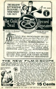 1926 small Print Ad of The Gold Seal Record Repeater & Film-O-Scope | eBay Phonograph, Print Ads, Vintage Advertisements, Seal, Advertising, Film, Movie, Film Stock, Print Advertising