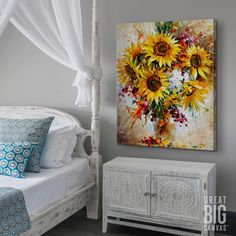 "Flower Painting Discover Sunflowers of Happiness Yellow abstract sunflower art - ""Sunflowers of Happiness"" wall art by Leonid Afremov from Great BIG Canvas. Sunflower Art, Sunflower Paintings, Painting Flowers, Inspirational Wall Art, Diy Wall Art, Painting Inspiration, Watercolor Art, Decoration, Big Canvas"
