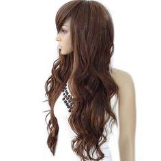 Pruik lang kastanjebruin lang haar met krullen