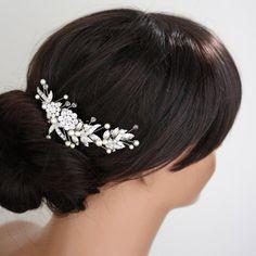 Bridal Hair Comb Wedding Hairpiece Leaf Comb White by LuluSplendor