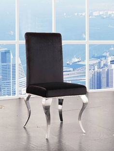 Fabiola Side Chair (Set-2) in Fabric & Stainless Steel - Acme Furniture 62072