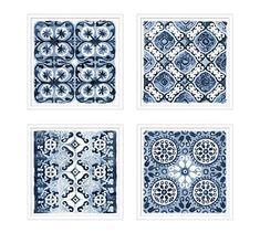 Decorative Blue Framed Paper Print, Set of 4 Blue Pottery, Pottery Art, Wall Art Sets, Wall Art Decor, Wall Decorations, Beach Themed Art, Memory Wall, Triptych Wall Art, Mirror Art