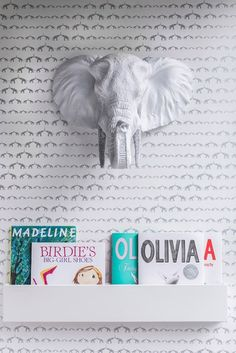 Silver Faux Elephant Head paired with SISSY+MARLEY for Jill Malek Baby Elephant Walk wallpaper - #nursery