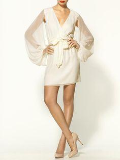 Erin Fetherston Cape Sleeve Silk Wrap Dress