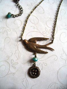 Bird nest necklace antiqued brass bird charm by botanicalbird