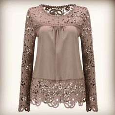 Plus Size Shirt Chiffon Blouse Sexy Hollow Lace Splice Women Tops Long Sleeve Shirt Women Casual Blusas Women Tops Blouse Sexy, White Lace Blouse, Blue Blouse, Blue Lace, Floral Blouse, Floral Lace, Lace Tops, Lace Blouses, Lace Sleeves