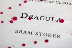 The inside page of Bram Stoker's Dracula covered in drops of blood. They're actually ink, but let's not tell anyone.