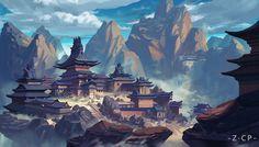 The Mountain city, chengpu zhang on ArtStation at https://www.artstation.com/artwork/XYDW0