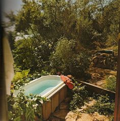 Outdoor bathtub by designer Kipp Stewart, from Inside Today's Home by Ray & Sarah Faulkner, 1975