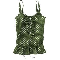 Old Navy Women's Ruffled Dropwaist Tops ($6.99) ❤ liked on Polyvore featuring tops, shirts, tanks, green, women, green shirt, tie shirt, green ruffle shirt, stringer tank top and green tank top