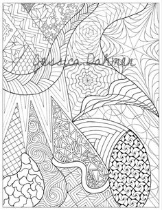 Hand-drawn coloring page. Part of a set of 4. You can buy each part individually or all 4 in a separate listing.  You will be able to instantly download these Prints. After checkout youll be given a direct link to download immediately. Size: 81/2 x 11 Black and White  Please do not re-sell these images. If you are interested in licensing my art or any type of commercial use please contact, I would love to hear from you.
