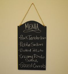 Large Menu/Message Board Chalk Board Sign (2 Sided)- For your Rustic, Country, Woodland, Outdoor, Black and White Damask Wedding Reception