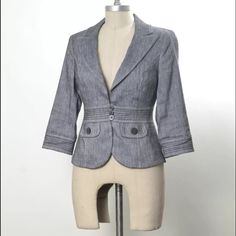 """White House Black Market soft linen blazer Classy blazer from White House Black Market. Notched lapel, with 3-button closure at waist. Wide waistband with contrast trapunto stitching. Linen blend fabric that has the look of linen but added rayon fibers for a softer hand and less wrinkling. 3/4 length sleeves. Two front flap pocket details at front waistband. Rounded edge hem for an added feminine detail. Lined. Size 0, I think it can also fit a 2. Bust: 32"""" Waist: 28"""" Length from Shoulder…"""