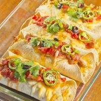 Chicken and cheese burritos