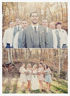 bridal party photos in the forest