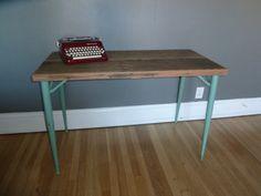 Reclaimed Wood Desk with Mid Century Modern Legs by pepeandcarols