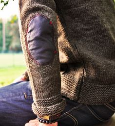 Jacket with elbow patch. Rustic, outdoors, stylish nonchalant.
