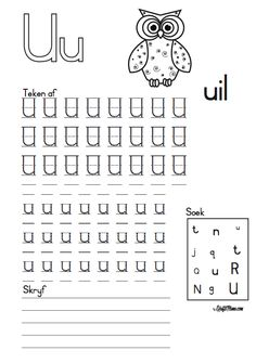 KraftiMama, Free Printables, Afrikaans Alfabet, U vir Uil Preschool Learning Activities, Preschool Lesson Plans, Free Preschool, Preschool Worksheets, Teaching Emotions, First Grade Worksheets, Teaching Posters, Preschool Writing, Writing Exercises